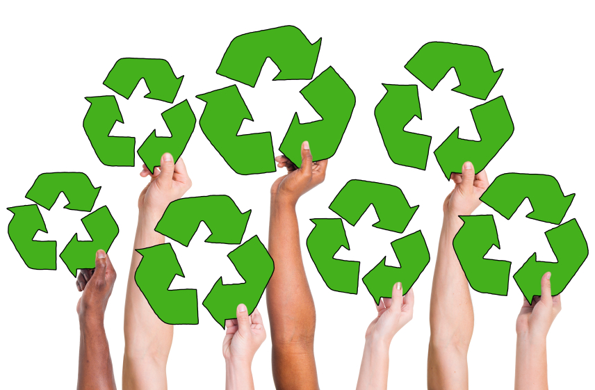 seven arms holding up recycling symbols
