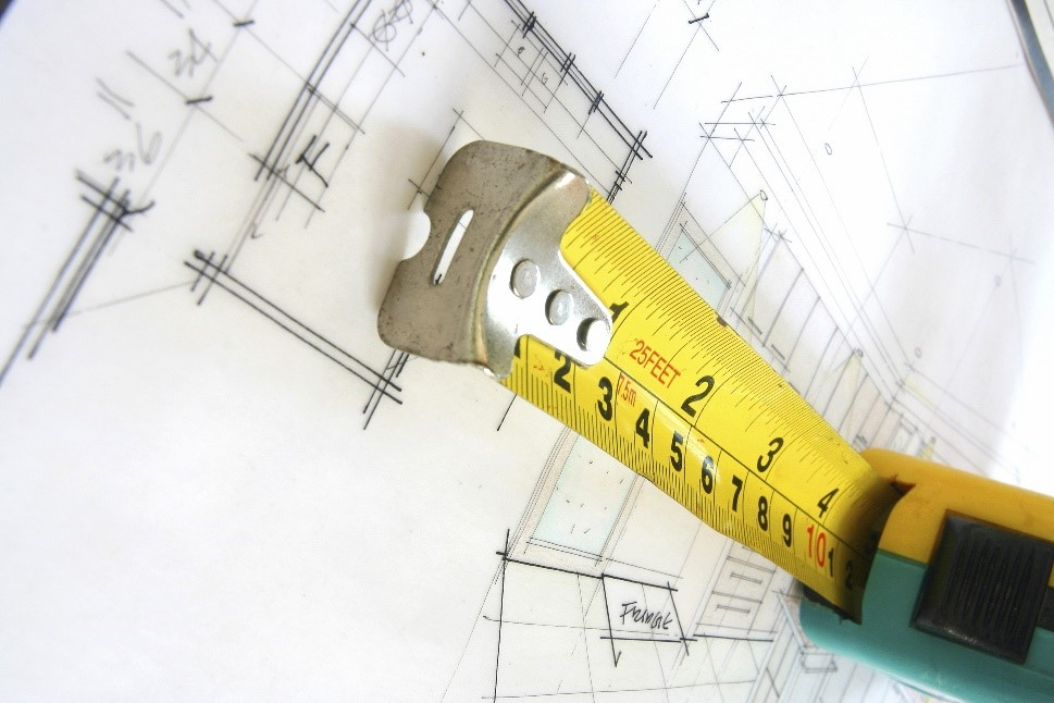 Tape measure used for the construction of a wall design